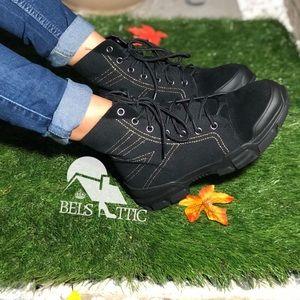 Black Vegan Suede Cap Toe Sneaker Combat Bootie